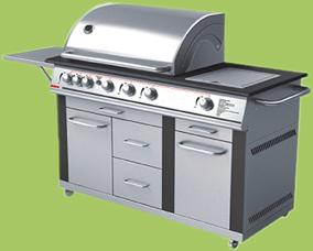 Barbecue à gaz 2 grilles en acier inoxydable 3 brûleurs 2
